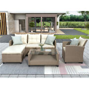 Couch Sets 4 Pcs Wicker Ratten Sectional Couches Sofa For Living Room
