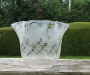 Antique Deep Etched Tulip Shaped Floral Glass Oil Lamp Globe / Shade 4 Fitter