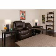 Allure Series 2-seat Reclining Pillow Back Brown Leathersoft Theater Seating Uni