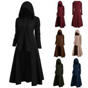 Fashion Women Plus Hooded Vintage Cloak Solid Color High Low Sweater Blouse Tops