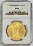 1993 Mo Gold Mexico 1 Oz Onza Winged Victory Coin Ngc Mint State 69