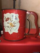 Vintage Androck Hand-i-sift Tin Litho Flour Sifter Wild Flowers Made In Usa 2