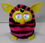 Hasbro Furby Boom 2013 Straight Stripes Black Pink Yellow 🌈talking Tested Works