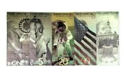 Full Set 99.9 24k Gold Us Banknotes In Protective Sleeve W Coa New Series