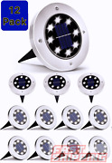 12-pack Solar In Ground Lights Outdoor Buried Lamp Disk Led Lawn Pathway Garden