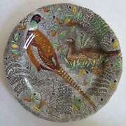Gien French Faience Rambouillet Pheasants Dinner Plate Mint Vintage Condition
