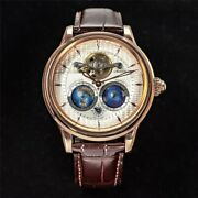 Dual Earth Automatic Rotating Mechanical Watch Menand039s 100m Waterproof 46mm Large