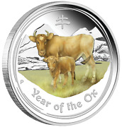 Anda Perth Money Expo Special 2021 Year Of The Ox 2oz Silver Proof Color 2 Coin