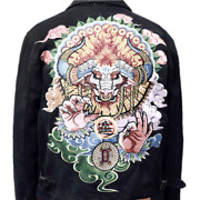 Mens Denim Jacket Japanese Pattern Embroidery Totem Jeans Coat Limited Edition