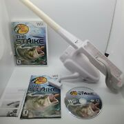 Nintendo Wii Psyclone Fishing Reel And Rod - Bass Pro W/ Bass Pro The Strike Game