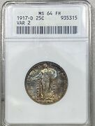 1917-d Standing Liberty 25c Silver Quarter Type 2 Anacs Ms 64 Full Head Toned
