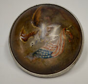 Antique Patriotic Domed Horse Bridle Rosette American Eagle Flag Hand Painted