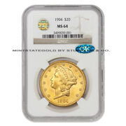1904 20 Gold Liberty Head Double Eagle Ngc Ms64 Pq Approved Cac Certified