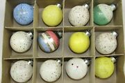 Lot Vintage Unsilvered Glass Frosted Mica Balls Christmas Ornaments Corning Usa