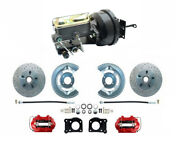 1964-66 Ford Mustang Front Power Brake Conv Kit Red Booster Kit Xd Rotors