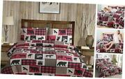Rustic Bedding Plaid Quilt Set Size Lodge Country Bedding Queen/full Moose Bear