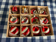 Lot Of 12 Vtg Antique Christmas Ornaments Glass Hand Painted
