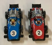 Set Of Rare Vintage West Germany Tin Toy Race Cars - Racing Numbers 2 And 3