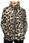 Womens Animal Print Cozy Sherpa Jacket Size M Browns Zip Front Fluffy Super Soft