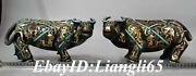 11 Old Silver Bronze Gilt Dynasty Palace Bull Oxen Luck Sculpture Pair