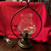Wrought Iron Table Lamp With Glass Chimney