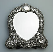 Fine And Large Quality Antique Solid Silver William Comyns Novelty Mirror C.1905