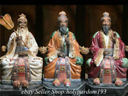 16.8 Old Chinese Wucai Porcelain Fengshui 3 Most Holy Trinity Statue Set