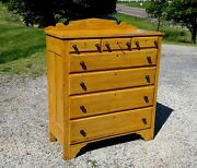 Antique Mustard Grain Painted Dresser Or Chest Of Drawers W/ Key Cherry 1900s