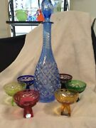 Cut To Clear Bohemian Cordial Set In Multi Color Glass