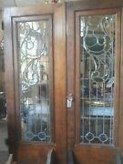 Antique Leaded And Bevel Glass French Doors