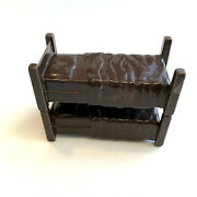 1960s Marx Toys Western Town Bunk Beds Or Can Be 2 Twin Beds Dark Brown Plastic