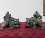 Vintage Chinese Cast Iron Fierce Foo Dog Pair Multi-color Heavy Metal 7andrdquo