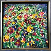 3d Textured Impasto Wild Flowers Painting, Wall Sculpture On Canvas 14 X 14 In.