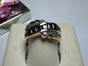 Estate 1.1ctw Princess Blue Sapphire Anddia Channel 14kt 2tone 7.6g Band Ring15641