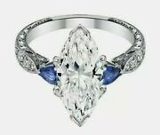 Marquise Round Cut Diamond Antique Art Deco Engagement In 925 Silver Gift Ring