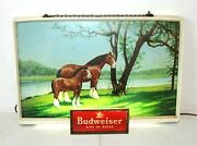 Budweiser Clydesdale Vintage Lighted Sign, Mare And Foal Horses, 20x 14 Light-up