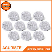 10pc 2 Round Led Marker Light Clear/red 9led W Flower Petal Look Trailer Light
