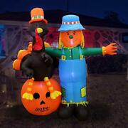 6 Ft Thanksgiving Inflatable Scarecrow Turkey Pumpkin Decoration Led Lights