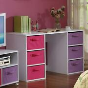 Computer Desk With 6 Large Foldable Canvas Pull Out Basket Bin Bedroom Storage