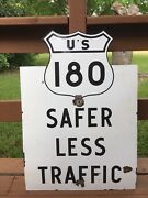 Rare Texas U.s. Highway 180 Porcelain Route Sign