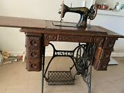 Gorgeous Antique Singer Sewing Machine With Cabinet/table From 1930s
