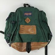 Vintage 90s Jansport Leather Backpack Day Pack Made In Usa Green