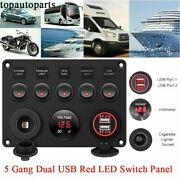 5 Gang Red Led Toggle Switch Panel 2 Usb For Car Suv Marine Truck Boat Rv 12-24v