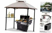 8'x5' Grill Gazebo Bbq Patio Shelter Canopy For Outdoor Barbecue 8x5 Off-white
