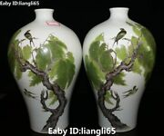 11 Color Porcelain Magpie Bird Qing Dynasty Willow Tree Flower Bottle Vase Pair