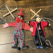 2 Vintage Wooden Marionettes No Tangles Great Condition Pinocchio