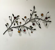 Vintage Wall Art Metal Mid Century Regency Tree Branch Jeweled Candle Sconces