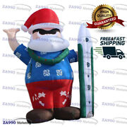 13ft Inflatable Santa Clause With Surfboard Christmas Holiday With Air Blower