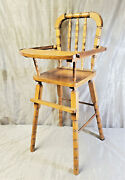 Vintage Wooden Doll Feeding High Chair Baby Style Toy Furniture Swing Tray