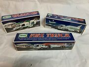 Hess Trucks Toys - Lot Of 3 - Helicopter Space Shuttle Fire Truck
